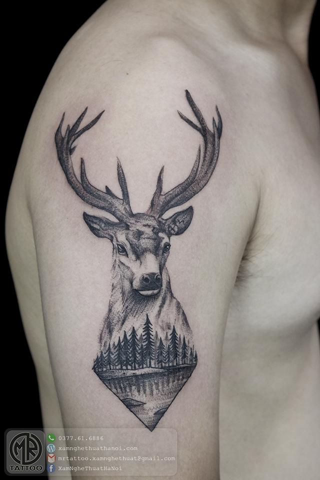 Hình xăm Hươu - Hình Xăm Đẹp tại Mr.Tattoo - Những mẫu xăm đẹp nhất 1.