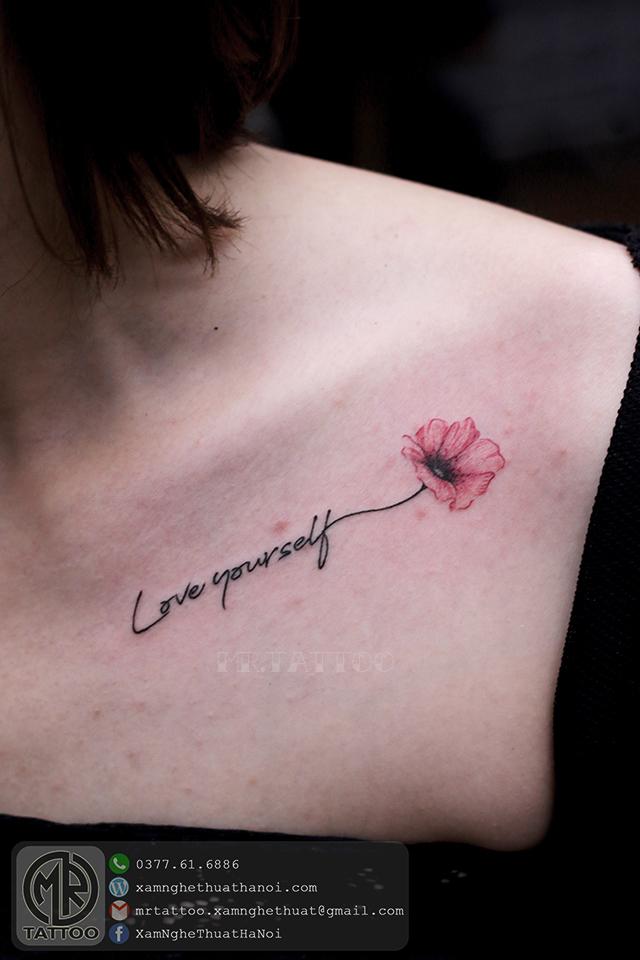 Hình xăm chữ và hoa - Hình Xăm Nhỏ tại Mr.Tattoo - Những mẫu xăm nhỏ đẹp nhất 1.