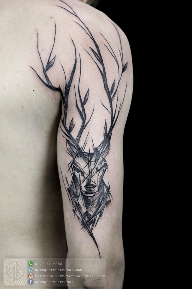 Hình xăm con hươu - Hình Xăm Đẹp tại Mr.Tattoo - Những mẫu xăm đẹp nhất 2.