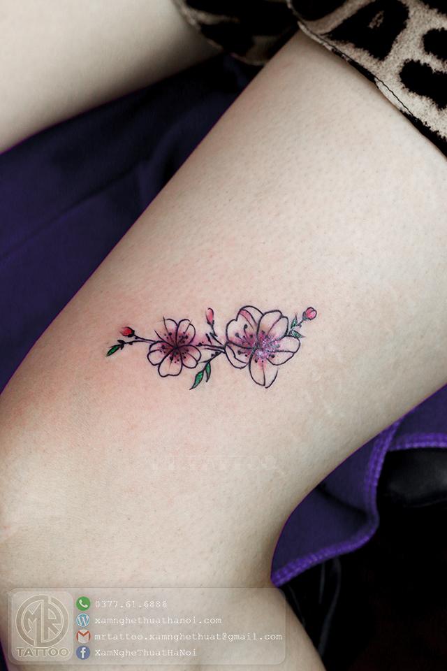Hình xăm hoa đào 2 1 - Hình Xăm Nhỏ | Mini Tattoos