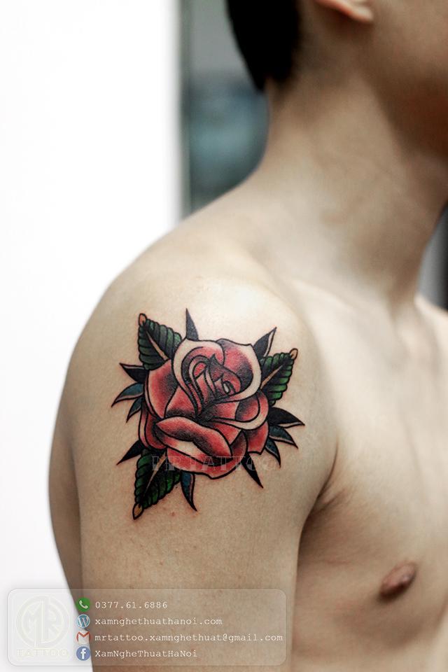 Hình xăm hoa hồng 1 - Hình Xăm Đẹp tại Mr.Tattoo - Những mẫu xăm đẹp nhất 1.