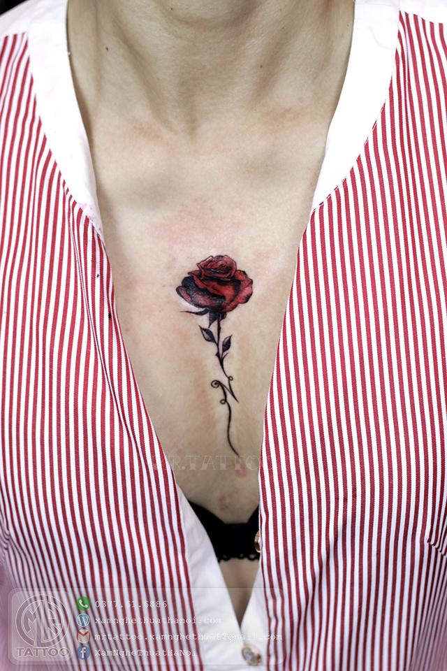 Hình xăm hoa hồng 2 - Hình Xăm Nhỏ | Mini Tattoos