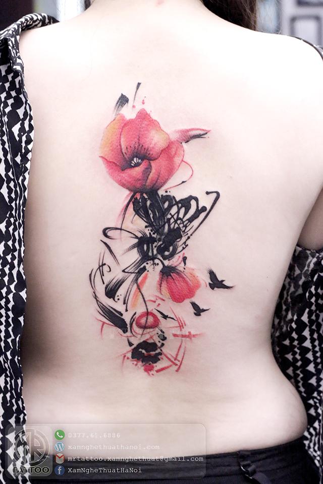 Hình xăm hoa poppy - Hình Xăm Đẹp tại Mr.Tattoo - Những mẫu xăm đẹp nhất 1.
