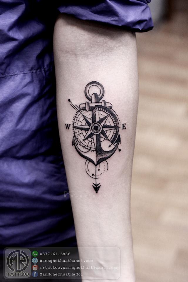 Hình xăm mỏ neo la bàn 1 - Hình Xăm Đẹp | Nice Tattoos
