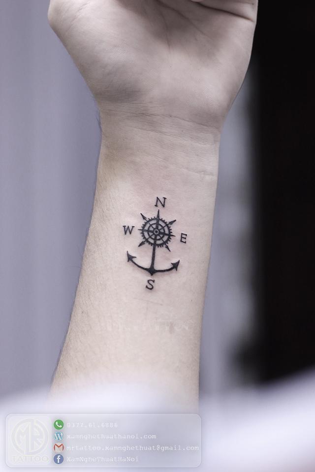 Hình xăm mỏ neo la bàn - Hình Xăm Nhỏ | Mini Tattoos