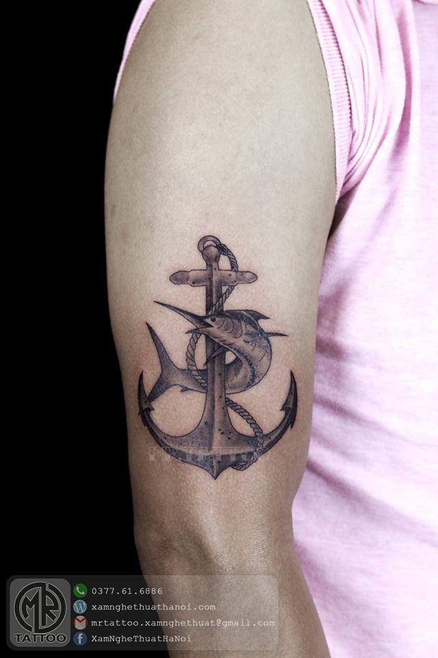 Hình xăm mỏ neo và cá - Hình Xăm Đẹp tại Mr.Tattoo - Những mẫu xăm đẹp nhất 2.