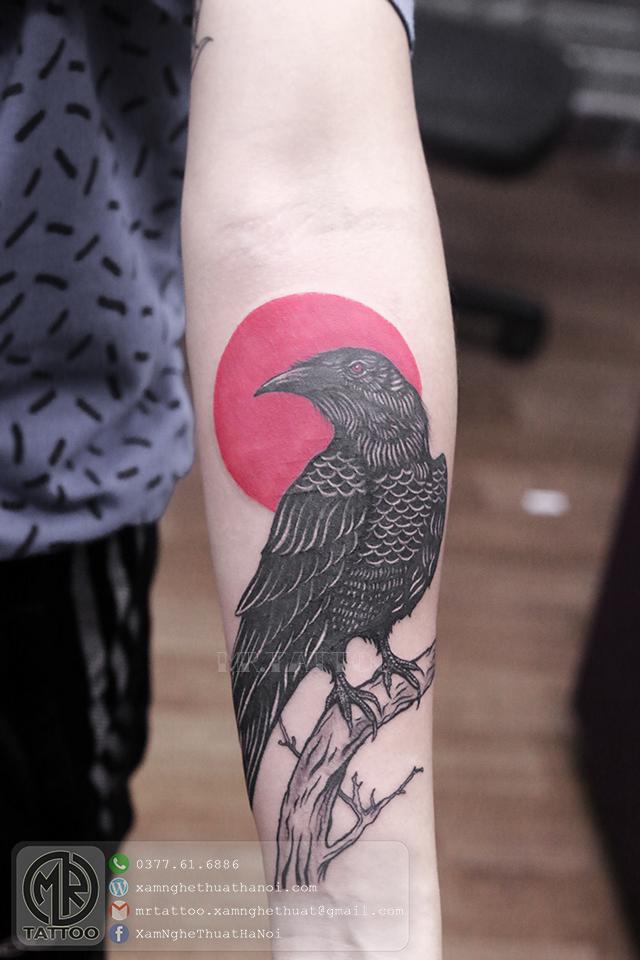 Hình xăm quạ đen - Hình Xăm Đẹp tại Mr.Tattoo - Những mẫu xăm đẹp nhất 1.