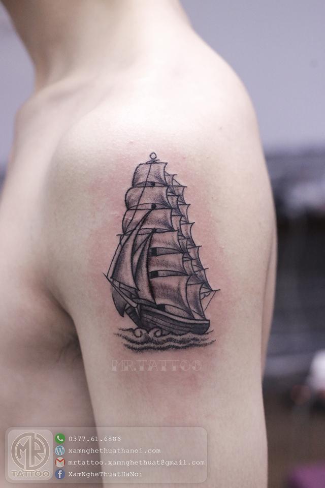 Hình xăm thuyền - Hình Xăm Đẹp tại Mr.Tattoo - Những mẫu xăm đẹp nhất 1.