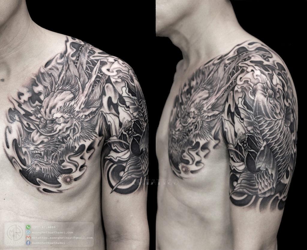 hình xăm rồng cá chép 1024x834 - Hình Xăm Đẹp tại Mr.Tattoo - Những mẫu xăm đẹp nhất 2.